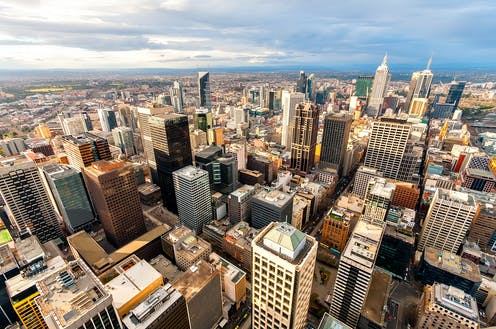 Panorama of Melbourne's city center from a high point