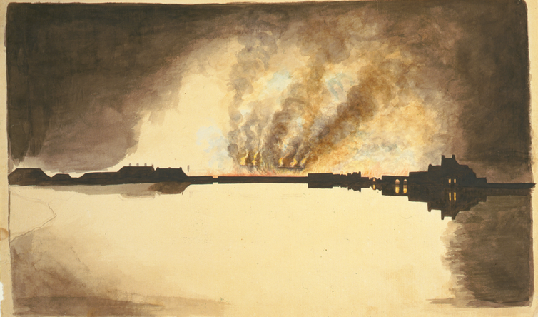 19th-century painting of burning buildings seen from across a rvier.