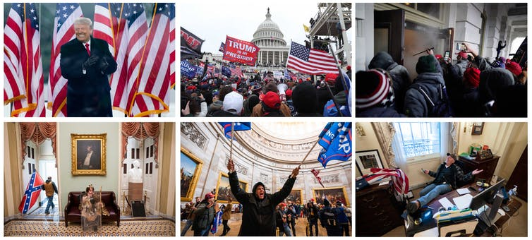 Montage of photographs of Trump, and his supporters storming the Capitol.
