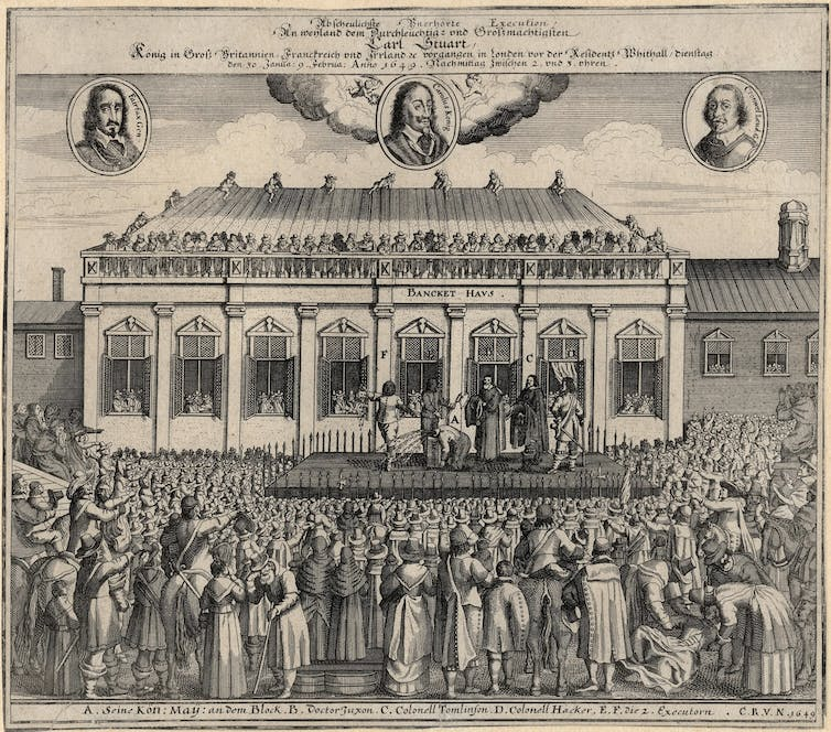 A depiction of the 1649 execution of King Charles I of England.