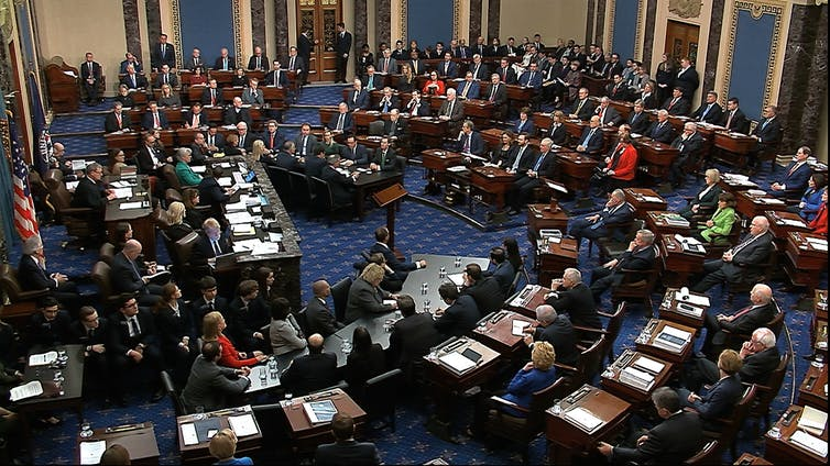 A scene of the Senate voting in Trump's impeachment trial in 2020