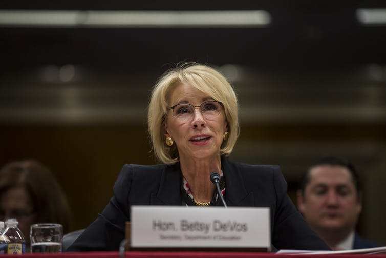 U.S. Secretary of Education Betsy DeVos testifies during a meeting.