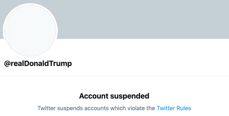 Screenshot of @realDonaldTrump's suspended Twitter account