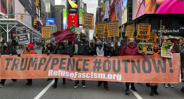 "A ""refuse fascism"" rally in New York."