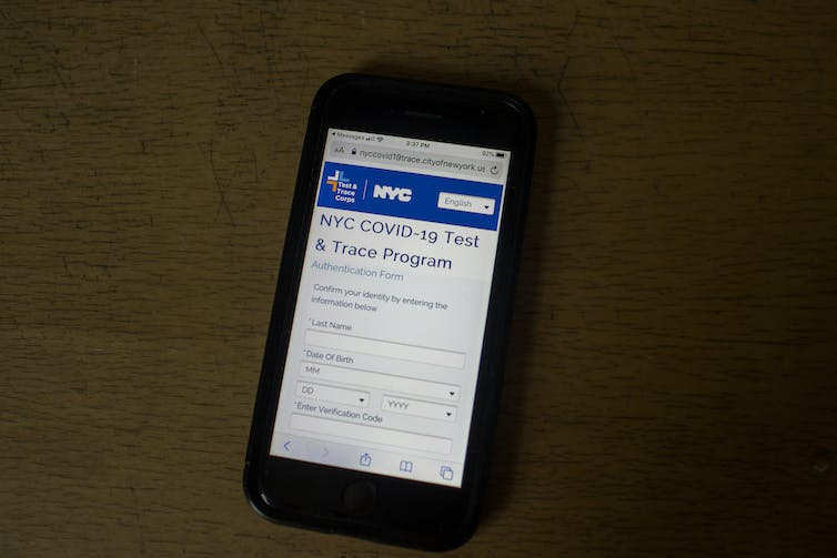A COVID-19 patient's iPhone receives its daily contact tracing message from the city of New York.