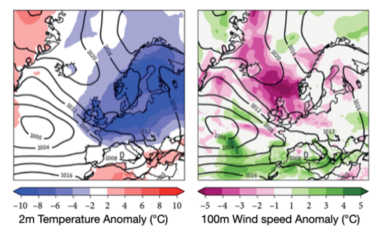Two maps of Europe depicting temperature and wind levels during periods of greatest energy system stress.