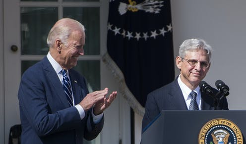 US president-elect Joe Biden, left, with his nominee for attorney general, Merrick Garland in 2016.