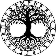Circle containing drawing of a tree surrounded by Norse runes.