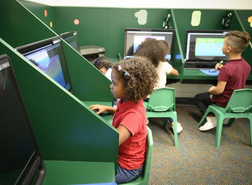 young schoolchildren in a tech lab
