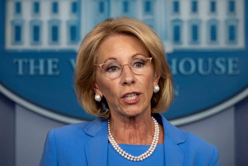 A headshot of Betsy Devos, US Secretary of Education.
