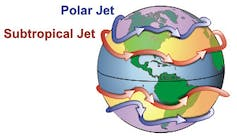 A graphic showing the rough locations of jet streams around the globe.