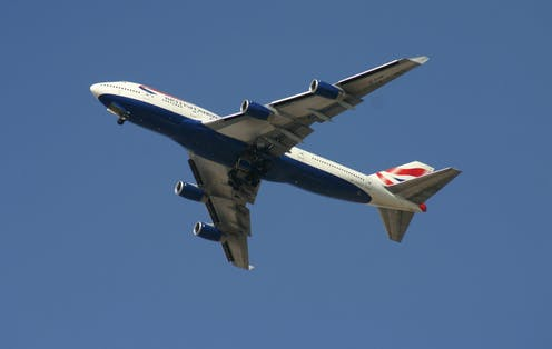 A Boeing 747 flying in the sky.
