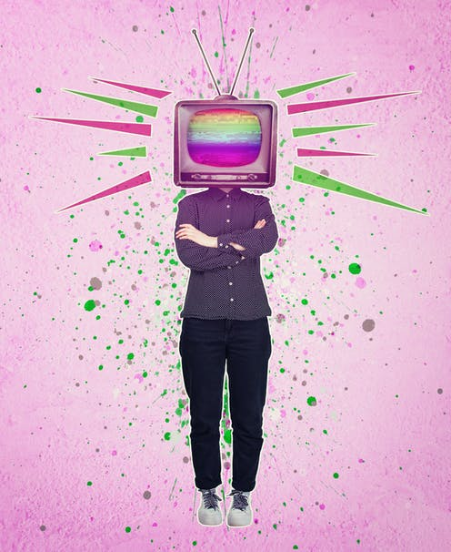 Person with TV or head against pink graphic background