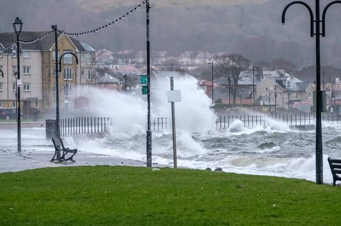 A storm-lashed sea front at Largs in Ayrshire, Scotland.