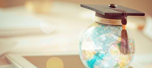 A globe with a graduation cap