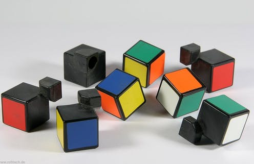 A disassembled Rubik's Cube.