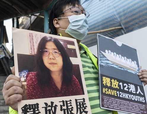 A photo of imprisoned China critic Zhang Zhan
