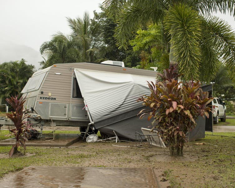 A caravan has been damaged in a storm.