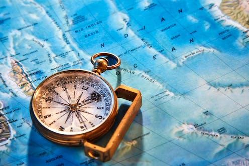 Carte de l'océan Indien et boussole