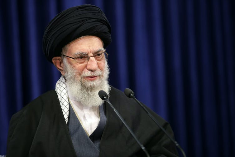 Iran's supreme leader, Ayatollah Ali Khamenei making speech about Iran Nuclear Deal, January 2021.