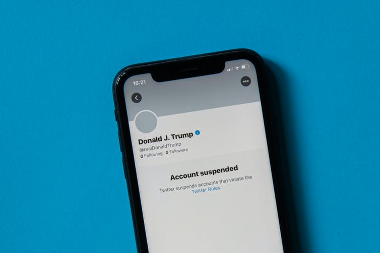 Phone shows Trump Twitter account suspended