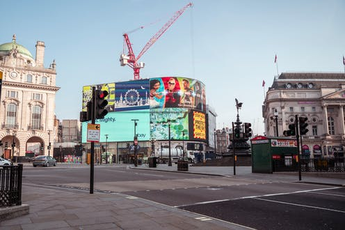 An empty Piccadilly Circus.