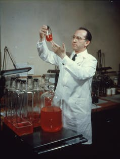 Jonas Salk poses with a flask in lab
