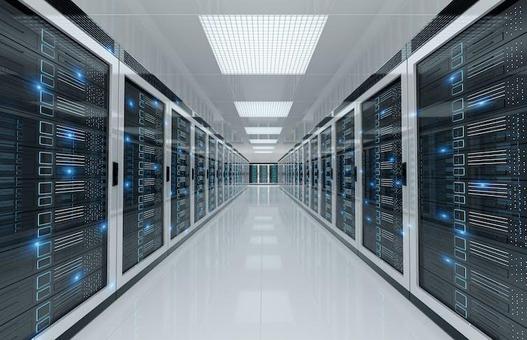 A long corridor of servers