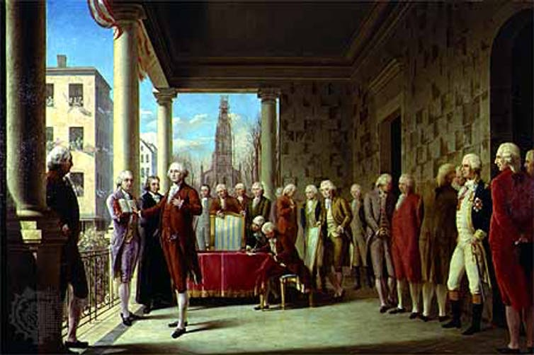 A painting of George Washington's first inauguration