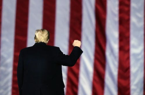 Donald Trump is seen facing away from the camera toward an American flag with his right arm raised in a fist.