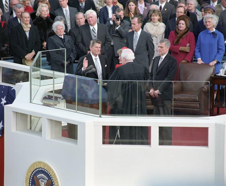 President Ronald Reagan is sworn in, Jan. 20, 1981.