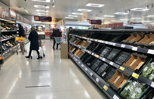 Empty shelves in Sainsburys in Belfast because UK suppliers can't clear customs.