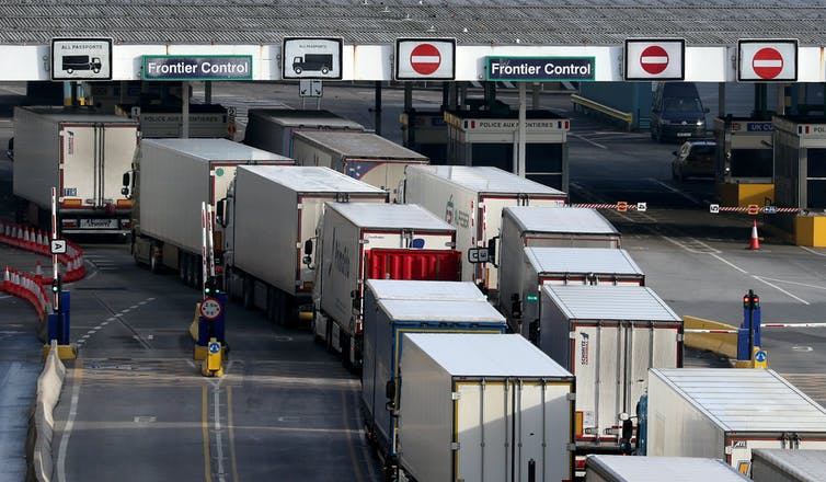 Lorries queuing to clear customs at Dover