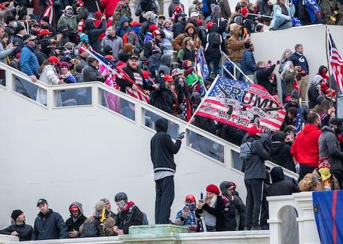 A mob storming the U.S. Capitol.