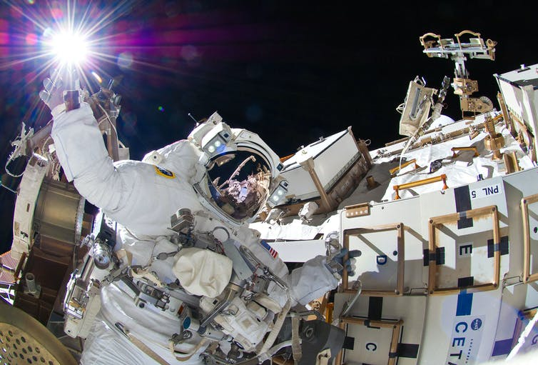 Astronaut outside the ISS.
