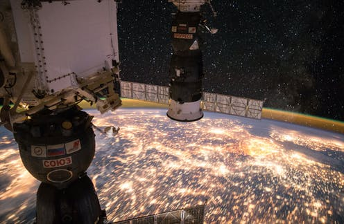 A view of Earth at night, from the ISS.