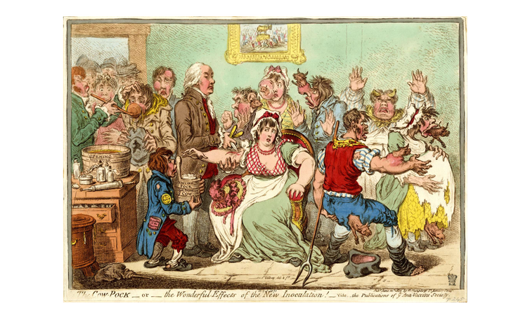 An engraving showing crowds pushing into a room where Jenner vaccinates a woman; other people are seen with cow heads growing out of their bodies.