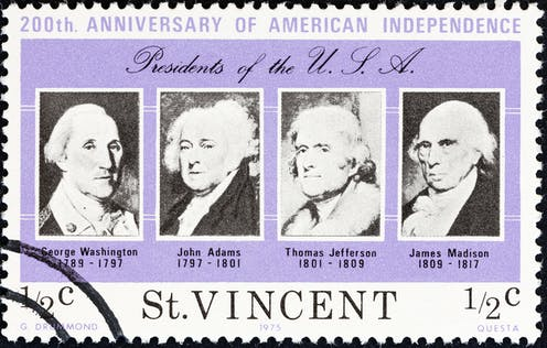 A stamp showing the portraits of George Washington, John Adams, Thomas Jefferson and James Madison
