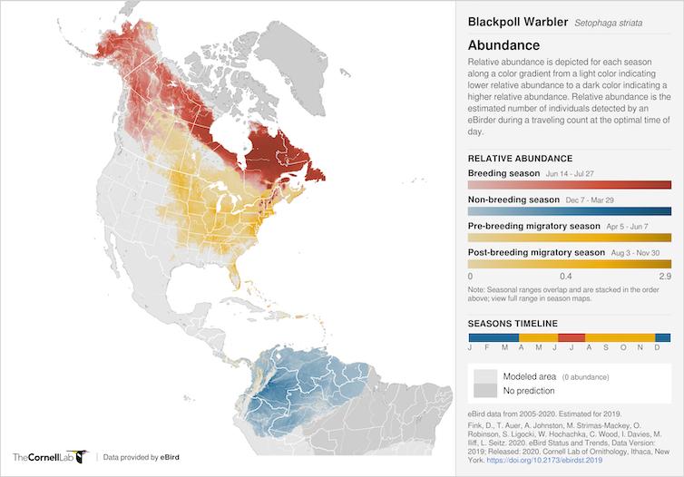 Map showing Blackpoll Warbler range