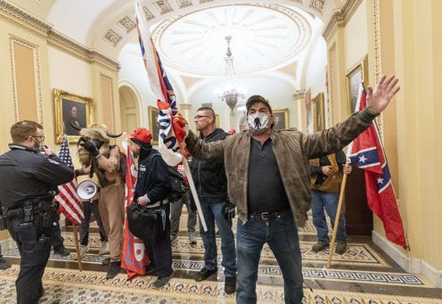 Trump supporters rioting in the US Capitol building