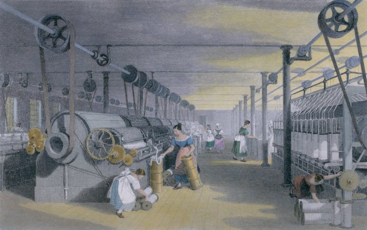 A painting featuring a loom in the industrial era.