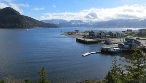 The town of Norris Point along the coast of Bonne Bay in Newfoundland and Labrador