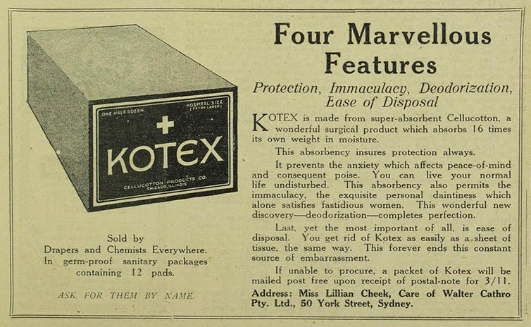 Old black and white Kotex newspaper advertisement.