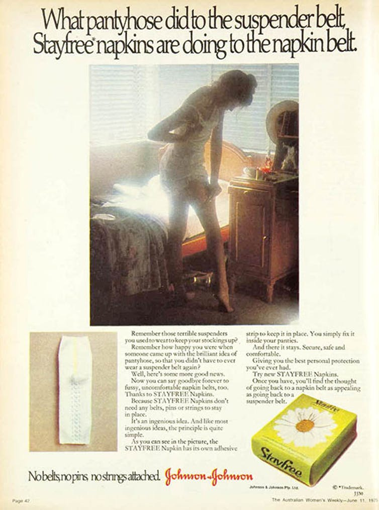 Woman in white underwear, in soft lighting in bedroom advertises Stayfree pads.