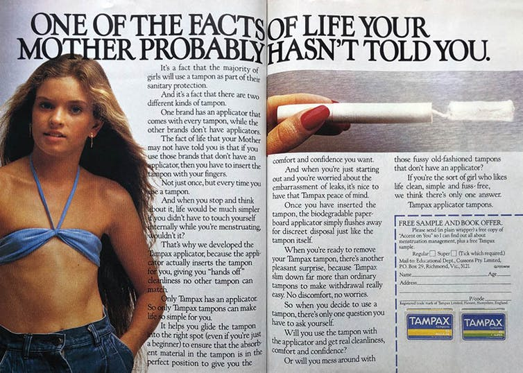 Magazine advertisement for tampons that pictures a prepubescent girl in a bikini top.