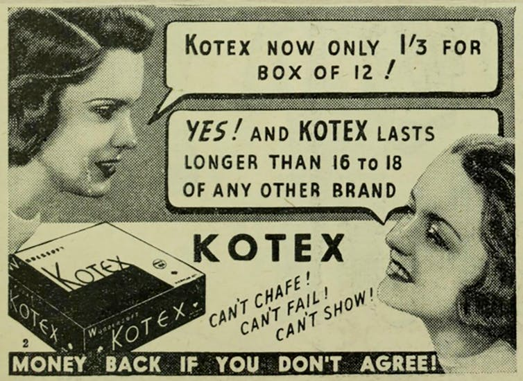 Old black and white Kotex newspaper advertisement, picturing the heads to two young women