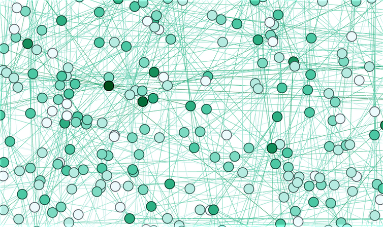 An illustration showing the connections between nodes or items in a network