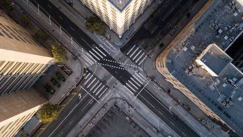 Aerial view of empty streets.