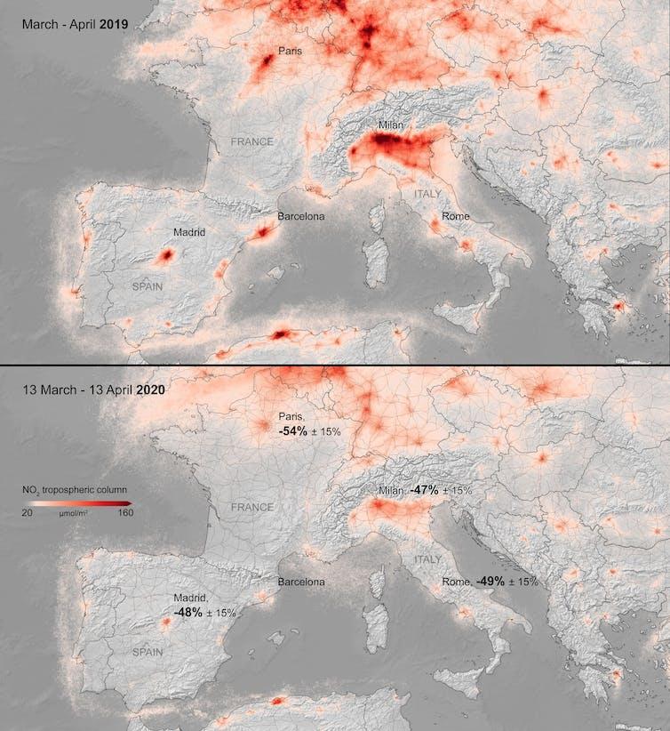 Mapa del nivel medio de contaminación por NO₂ (columna vertical troposférica) para el período de 13 de marzo a 13 de abril de 2019 (arriba) y para el mismo período en 2020 (abajo). Copernicus Sentinel data (2019-20) / KNMI / ESA