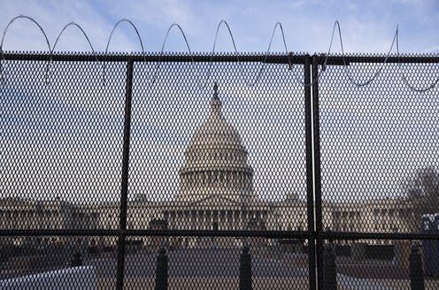 US Capitol building behind wire fences